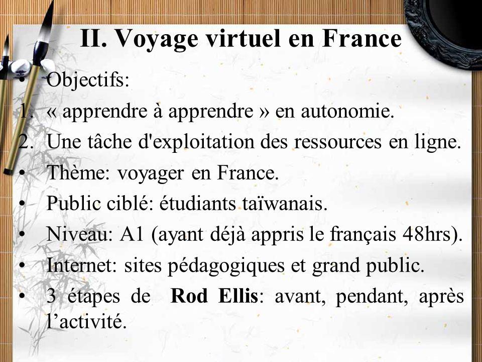 20/11/2009Montoneri & Tsai10 II. Voyage virtuel en France