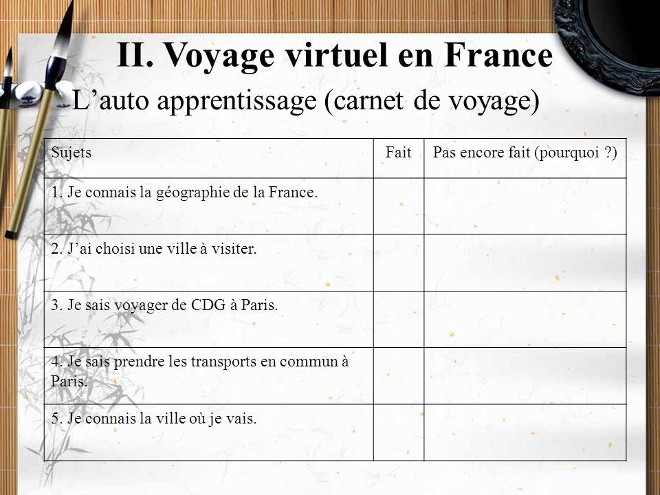20/11/2009Montoneri & Tsai12 II. Voyage virtuel en France