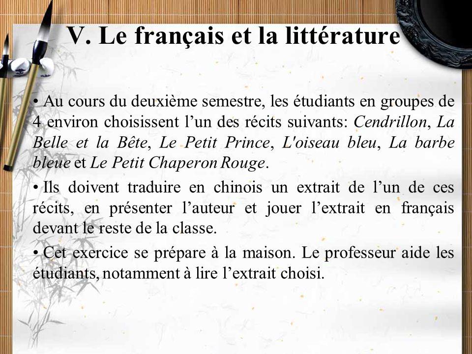 20/11/2009Montoneri & Tsai28 V. Le français et la littérature