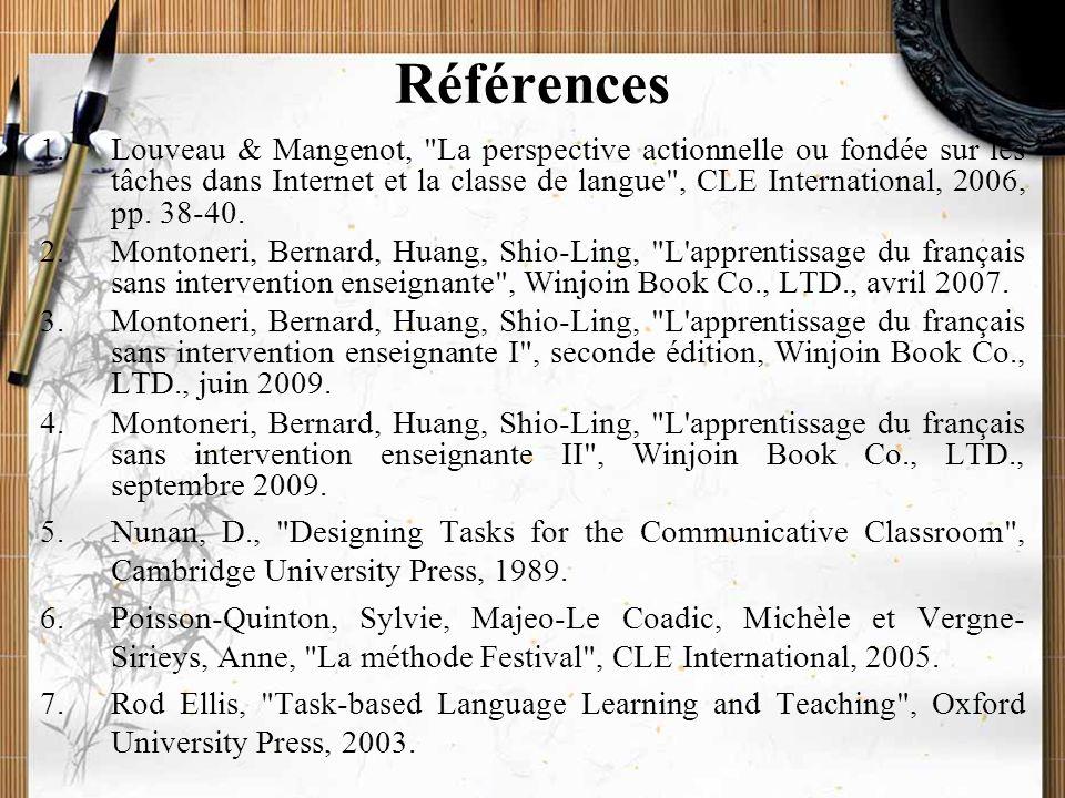 20/11/2009Montoneri & Tsai32 Conclusion Grâce à Internet, les étudiants possèdent de nouveaux moyens d'apprendre le français, avant, pendant et après les cours.