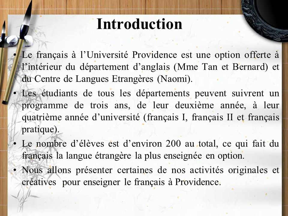 20/11/2009Montoneri & Tsai3 Introduction I. Cours thématiques II. Voyage virtuel en France III. Village français IV. Cours en ligne V. Le français et