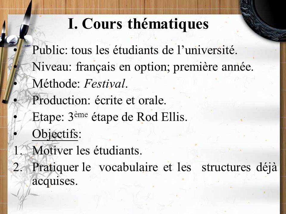 20/11/2009Montoneri & Tsai5 I. Cours thématiques