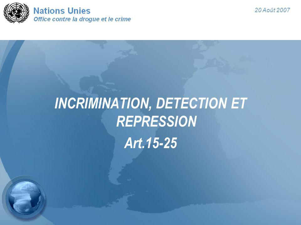20 Août 2007 INCRIMINATION, DETECTION ET REPRESSION Art.15-25