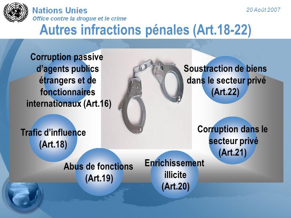 20 Août 2007 Autres infractions pénales (Art.18-22) Corruption passive d'agents publics étrangers et de fonctionnaires internationaux (Art.16) Trafic d'influence (Art.18) Abus de fonctions (Art.19) Corruption dans le secteur privé (Art.21) Enrichissement illicite (Art.20) Soustraction de biens dans le secteur privé (Art.22)