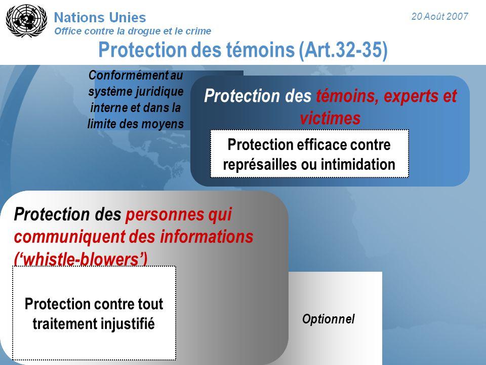 20 Août 2007 Protection des personnes qui communiquent des informations ('whistle-blowers') Protection contre tout traitement injustifié Optionnel Pro