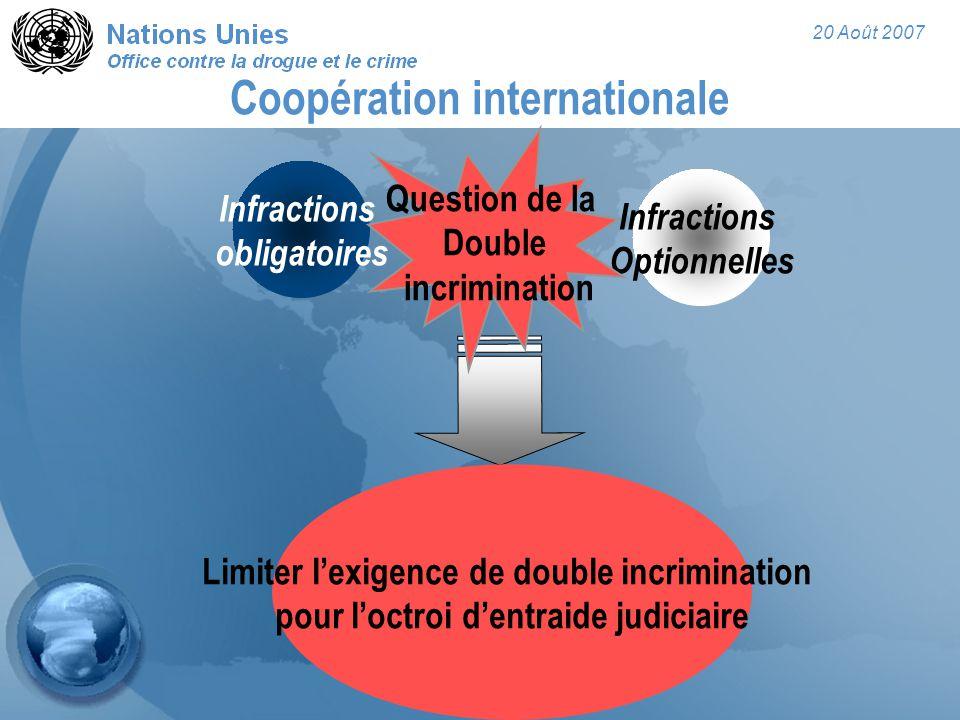 20 Août 2007 Coopération internationale Infractions obligatoires Infractions Optionnelles Limiter l'exigence de double incrimination pour l'octroi d'entraide judiciaire Question de la Double incrimination