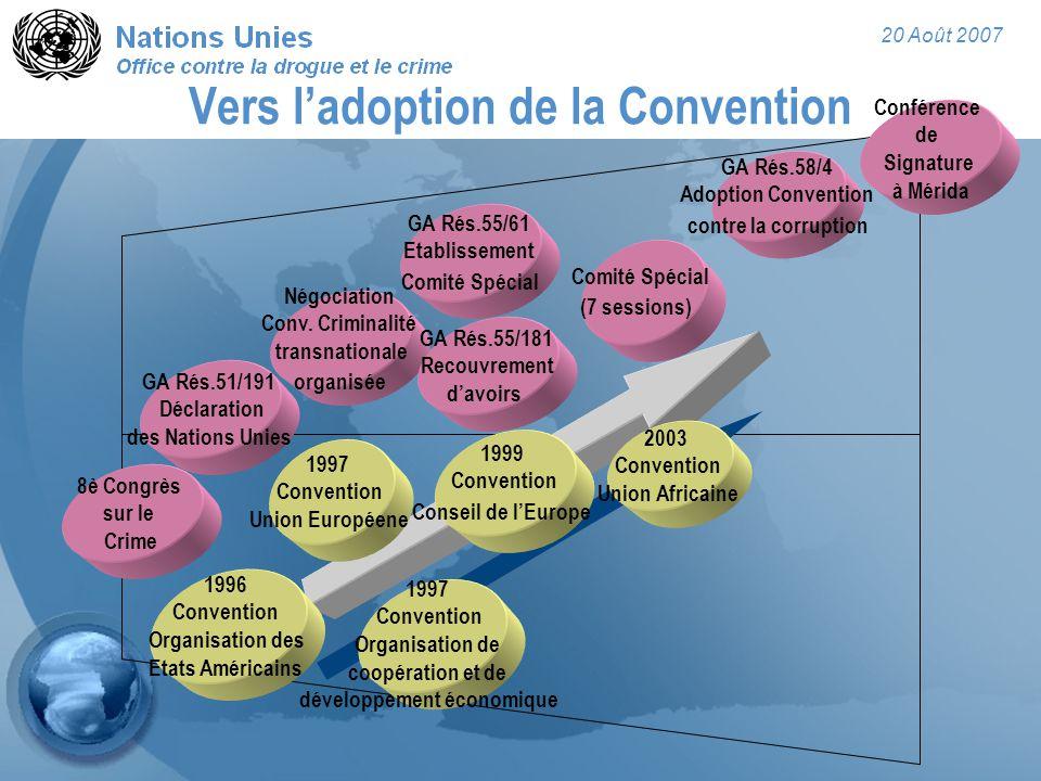 20 Août 2007 Vers l'adoption de la Convention 8è Congrès sur le Crime GA Rés.51/191 Déclaration des Nations Unies Négociation Conv. Criminalité transn