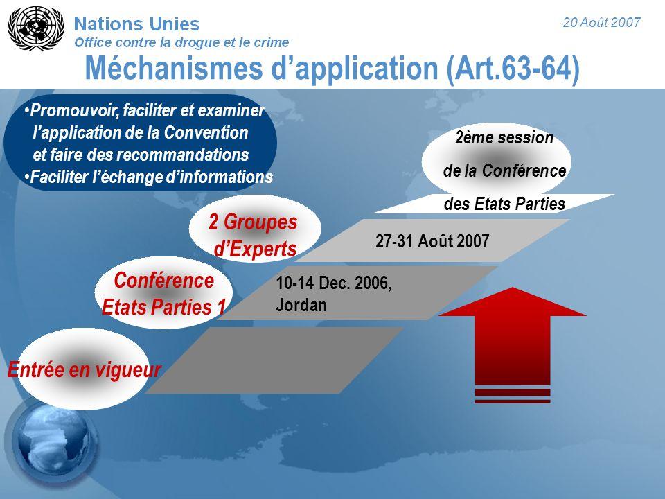 20 Août 2007 Méchanismes d'application (Art.63-64) 10-14 Dec. 2006, Jordan Conférence Etats Parties 1 Entrée en vigueur 2 Groupes d'Experts 27-31 Août