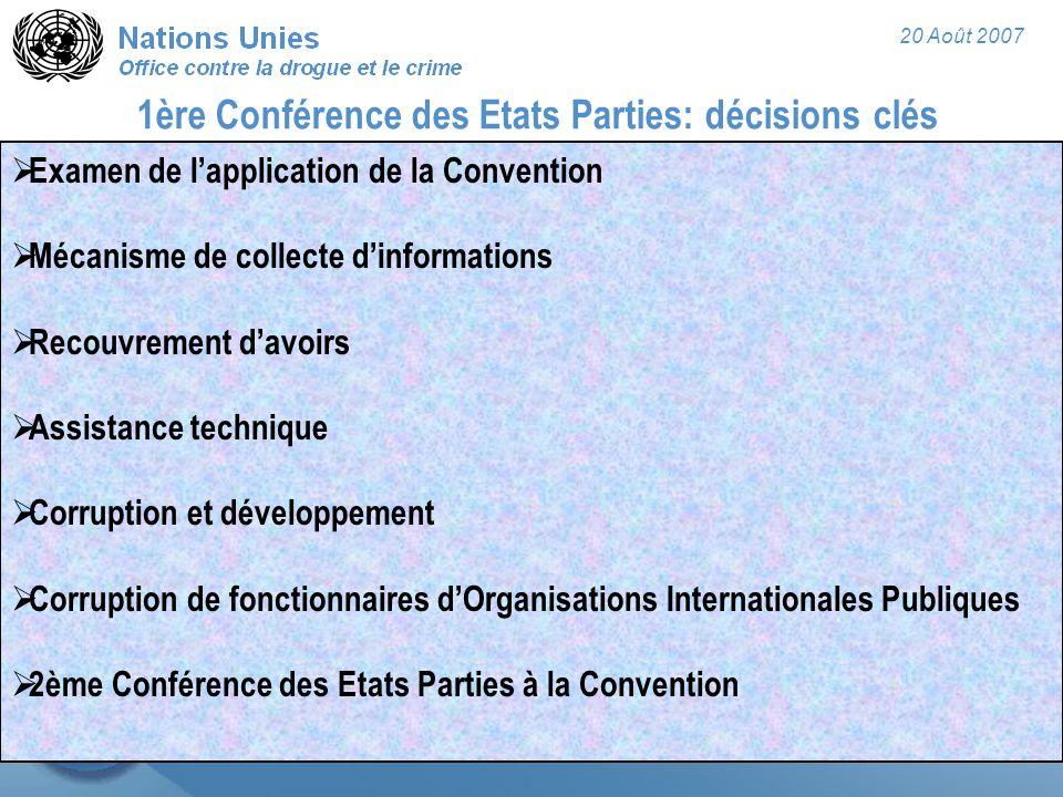 20 Août 2007 1ère Conférence des Etats Parties: décisions clés  Examen de l'application de la Convention  Mécanisme de collecte d'informations  Recouvrement d'avoirs  Assistance technique  Corruption et développement  Corruption de fonctionnaires d'Organisations Internationales Publiques  2ème Conférence des Etats Parties à la Convention