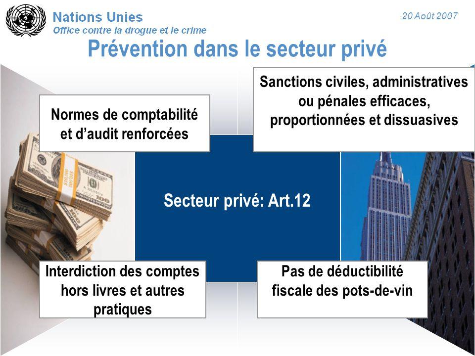 20 Août 2007 Secteur privé: Art.12 Prévention dans le secteur privé Normes de comptabilité et d'audit renforcées Interdiction des comptes hors livres