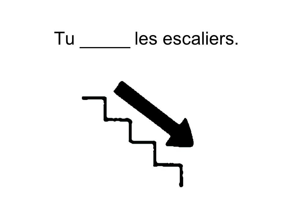 Tu _____ les escaliers.