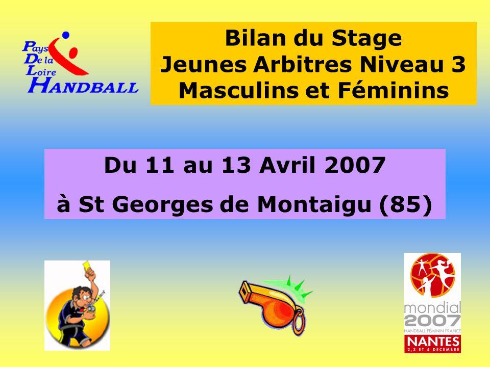Bilan du Stage Jeunes Arbitres Niveau 3 Masculins et Féminins Du 11 au 13 Avril 2007 à St Georges de Montaigu (85)