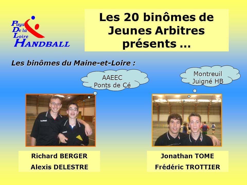 Les 20 binômes de Jeunes Arbitres présents … Les binômes du Maine-et-Loire : Richard BERGER Alexis DELESTRE Jonathan TOME Frédéric TROTTIER AAEEC Pont