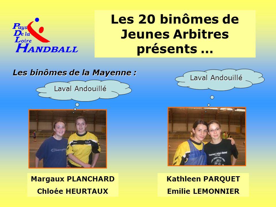 Les 20 binômes de Jeunes Arbitres présents … Les binômes de la Mayenne : Margaux PLANCHARD Chloée HEURTAUX Kathleen PARQUET Emilie LEMONNIER Laval And