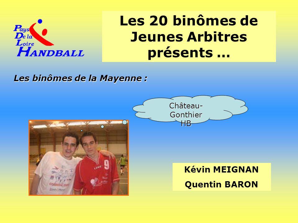 Les 20 binômes de Jeunes Arbitres présents … Les binômes de la Mayenne : Kévin MEIGNAN Quentin BARON Château- Gonthier HB
