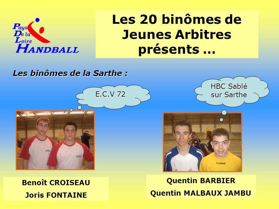 Les 20 binômes de Jeunes Arbitres présents … Les binômes de la Sarthe : Benoît CROISEAU Joris FONTAINE Quentin BARBIER Quentin MALBAUX JAMBU E.C.V 72