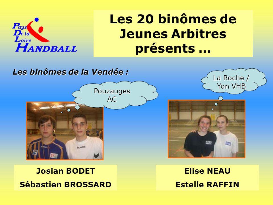 Les 20 binômes de Jeunes Arbitres présents … Les binômes de la Vendée : Josian BODET Sébastien BROSSARD Elise NEAU Estelle RAFFIN PouzaugesAC La Roche
