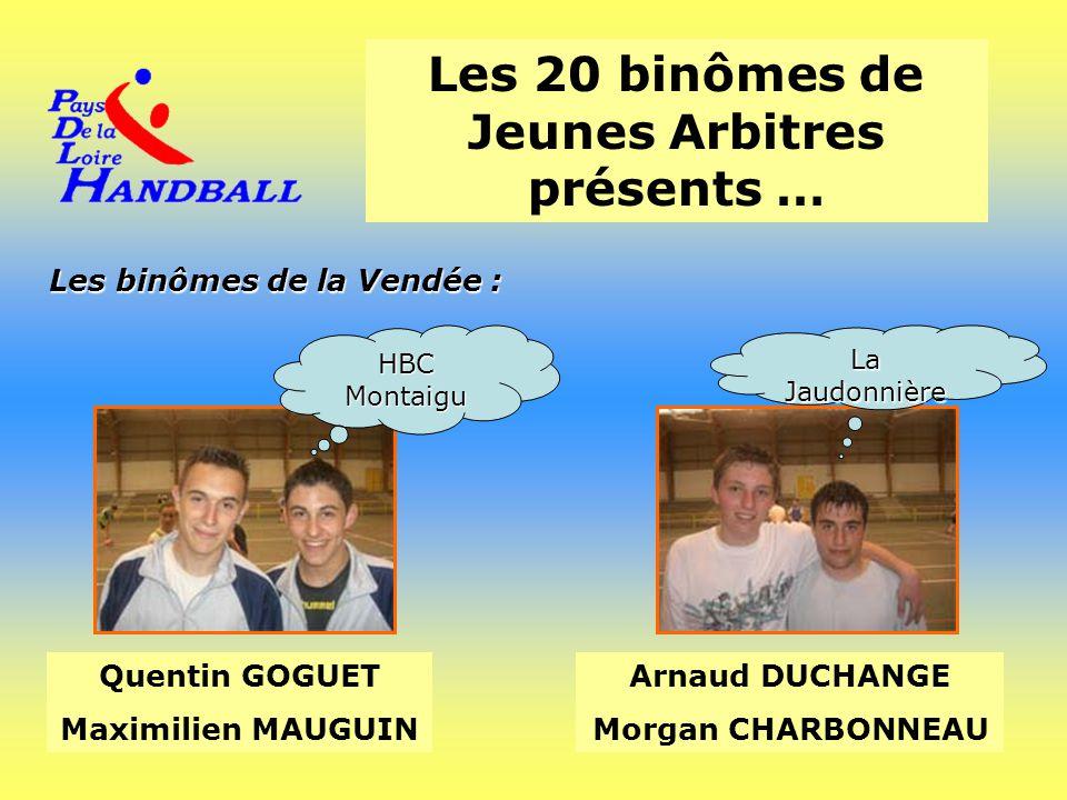 Les 20 binômes de Jeunes Arbitres présents … Les binômes de la Vendée : Quentin GOGUET Maximilien MAUGUIN Arnaud DUCHANGE Morgan CHARBONNEAU HBC Monta