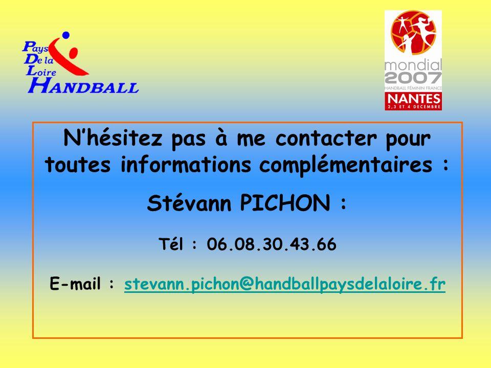N'hésitez pas à me contacter pour toutes informations complémentaires : Stévann PICHON : Tél : 06.08.30.43.66 E-mail : stevann.pichon@handballpaysdela