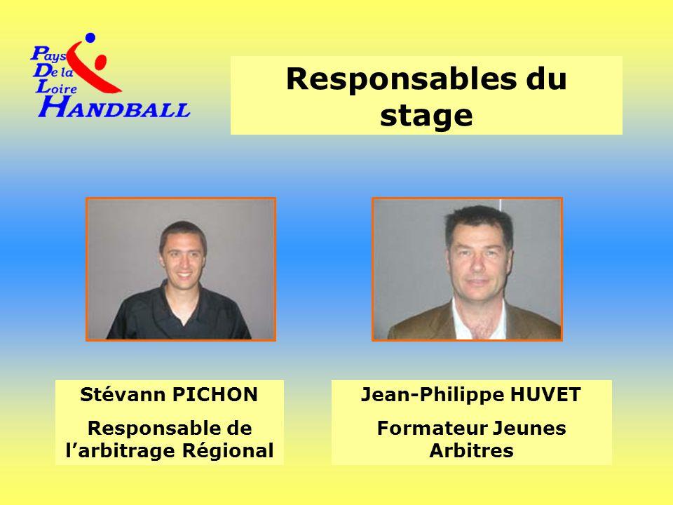 Responsables du stage Stévann PICHON Responsable de l'arbitrage Régional Jean-Philippe HUVET Formateur Jeunes Arbitres