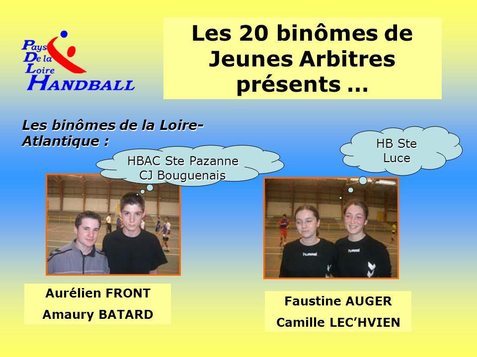 Les 20 binômes de Jeunes Arbitres présents … Les binômes de la Loire- Atlantique : Aurélien FRONT Amaury BATARD Faustine AUGER Camille LEC'HVIEN HBAC