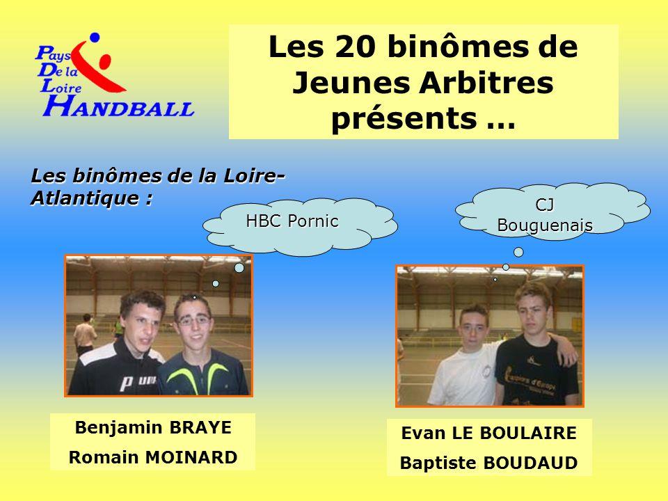 Les 20 binômes de Jeunes Arbitres présents … Les binômes de la Loire- Atlantique : Benjamin BRAYE Romain MOINARD Evan LE BOULAIRE Baptiste BOUDAUD HBC