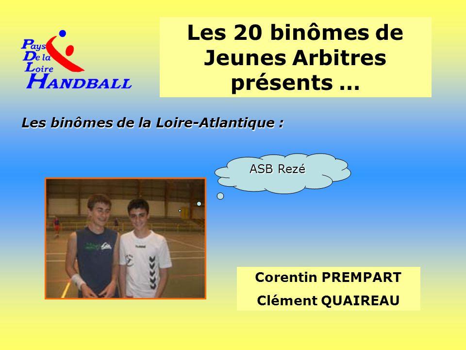 Les 20 binômes de Jeunes Arbitres présents … Corentin PREMPART Clément QUAIREAU Les binômes de la Loire-Atlantique : ASB Rezé