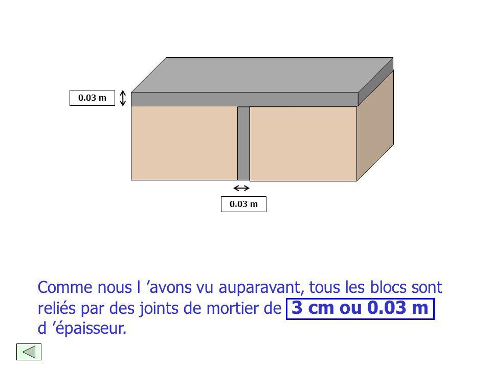 2. Connaître l'épaisseur des joints de mortier nécessaires pour 1 mètre carré de mur : 3 cm ou 0.03 m