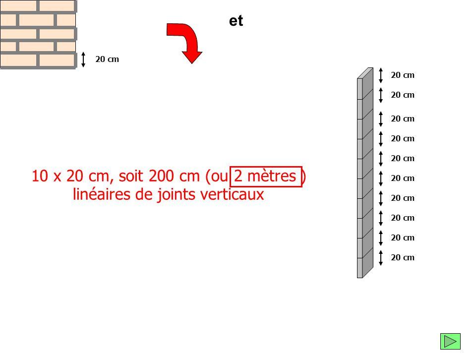 Voici tous les joints de mortier que tu as utilisés pour construire un mètre carré de mur : 5 mètres linéaires de joints horizontaux 1 m