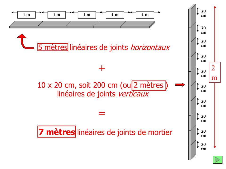 et 10 x 20 cm, soit 200 cm (ou 2 mètres ) linéaires de joints verticaux 20 cm