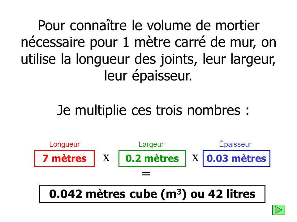 5 mètres linéaires de joints horizontaux 10 x 20 cm, soit 200 cm (ou 2 mètres ) linéaires de joints verticaux + = 7 mètres linéaires de joints de mort