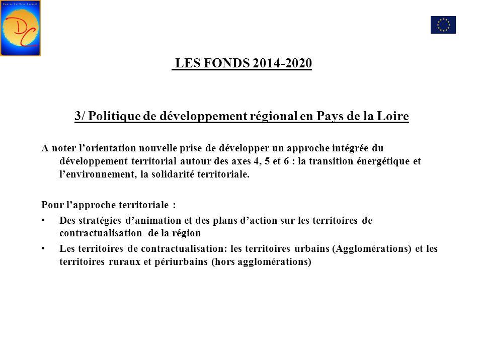 LES FONDS 2014-2020 3/ Politique de développement régional en Pays de la Loire A noter l'orientation nouvelle prise de développer un approche intégrée du développement territorial autour des axes 4, 5 et 6 : la transition énergétique et l'environnement, la solidarité territoriale.