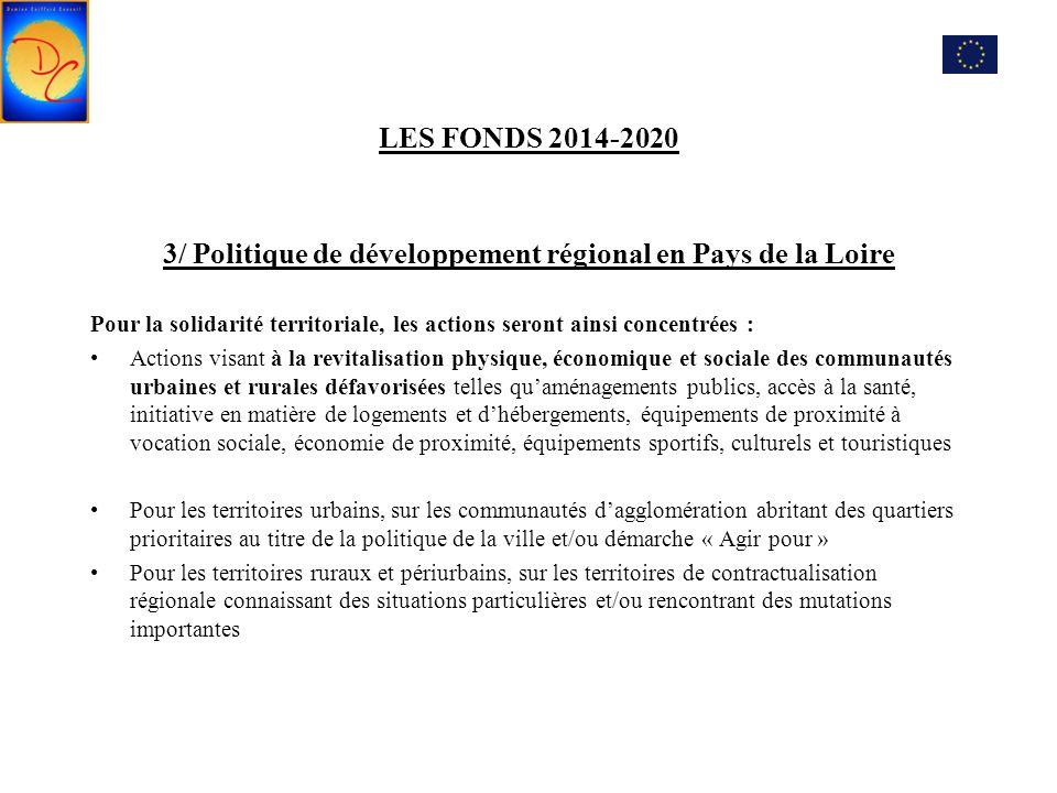 LES FONDS 2014-2020 3/ Politique de développement régional en Pays de la Loire Pour la solidarité territoriale, les actions seront ainsi concentrées :