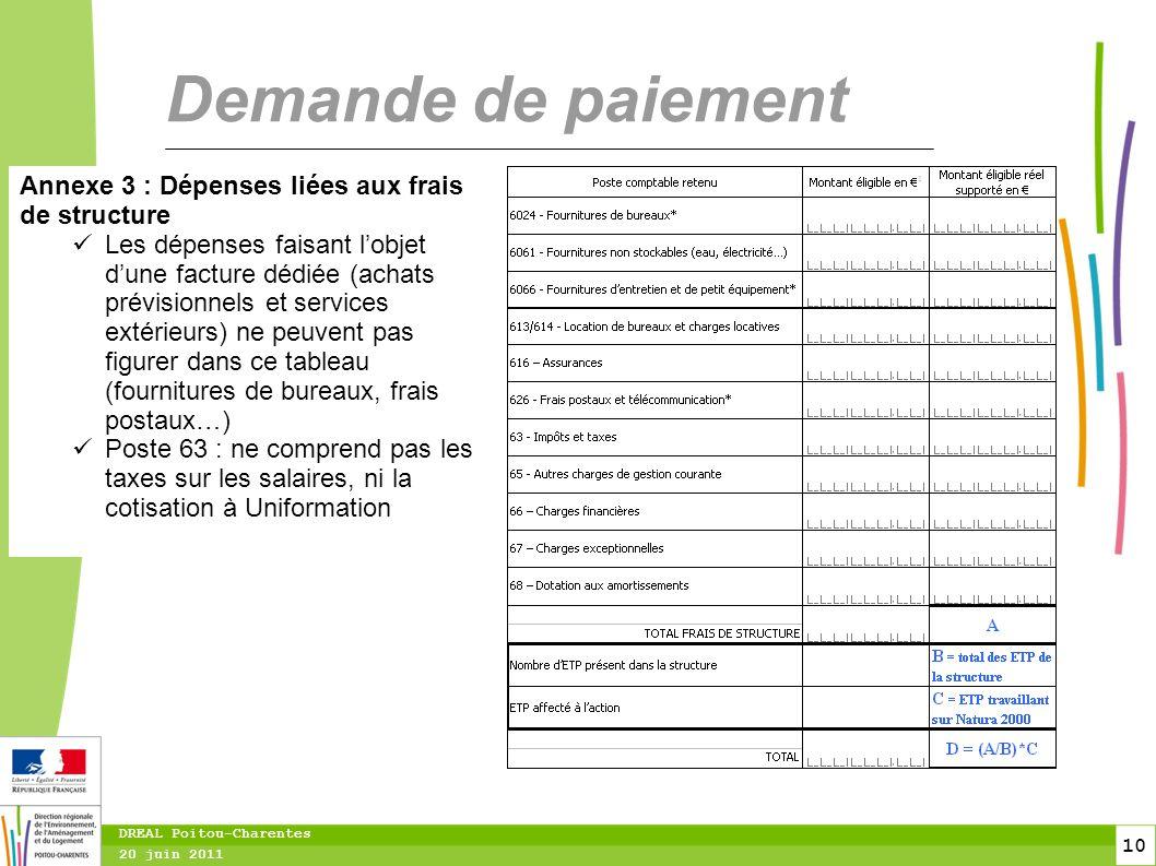 10 20 juin 2011 DREAL Poitou-Charentes Demande de paiement Annexe 3 : Dépenses liées aux frais de structure Les dépenses faisant l'objet d'une facture