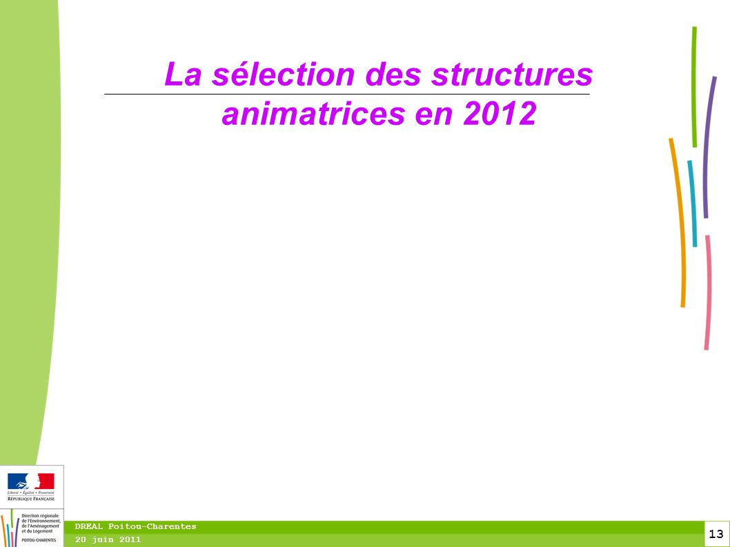 13 20 juin 2011 DREAL Poitou-Charentes La sélection des structures animatrices en 2012