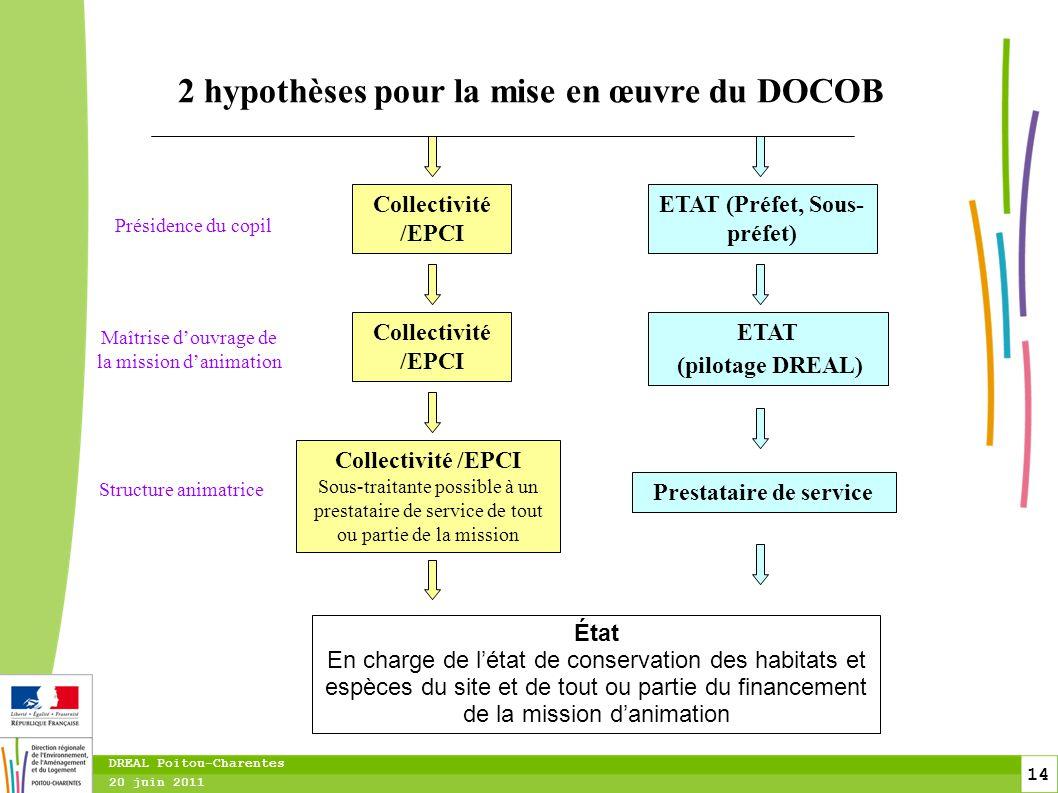 14 20 juin 2011 DREAL Poitou-Charentes 2 hypothèses pour la mise en œuvre du DOCOB Présidence du copil Maîtrise d'ouvrage de la mission d'animation Co