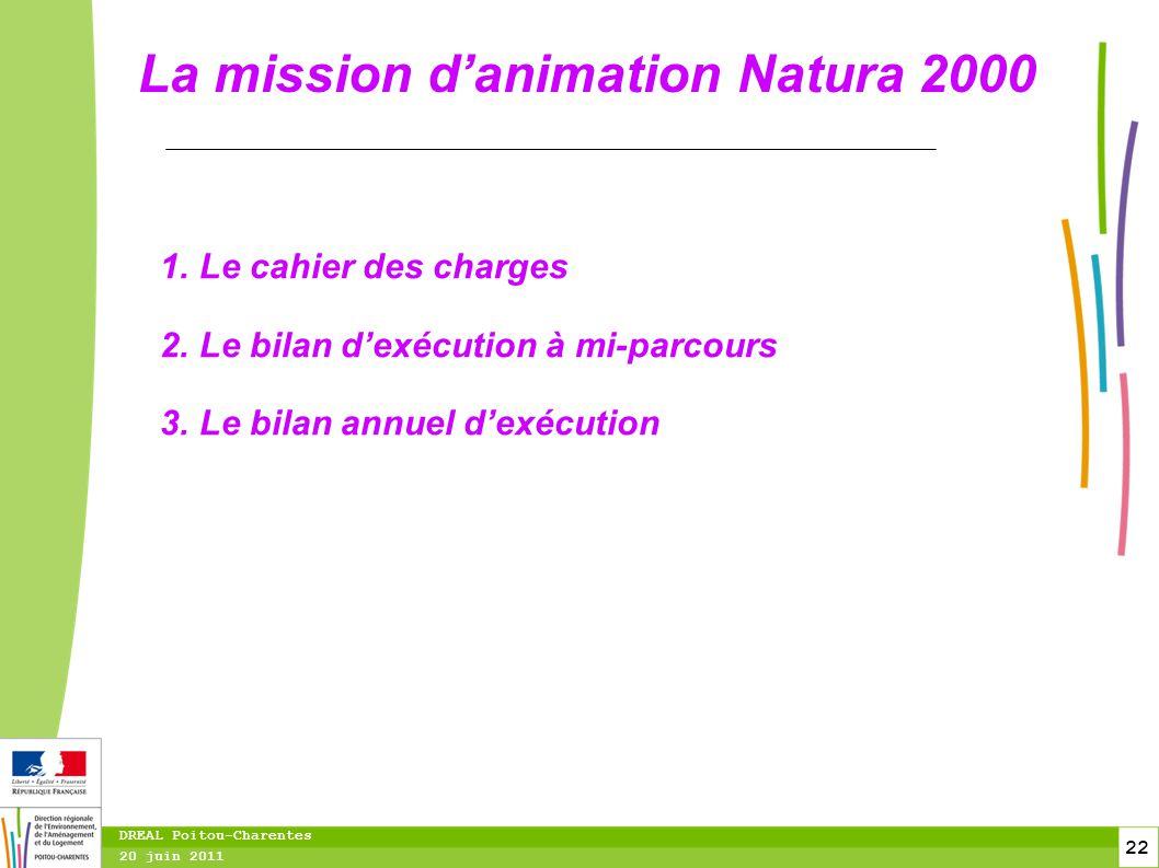 22 20 juin 2011 DREAL Poitou-Charentes La mission d'animation Natura 2000 1.Le cahier des charges 2.Le bilan d'exécution à mi-parcours 3.Le bilan annu
