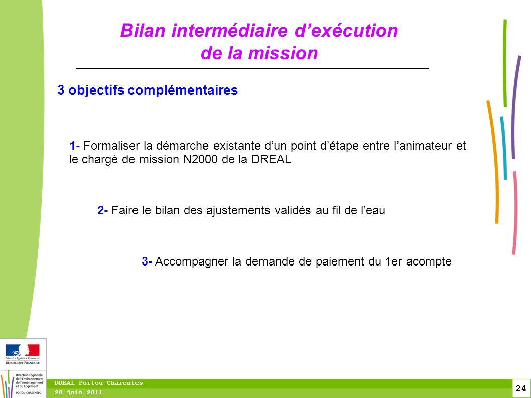 24 20 juin 2011 DREAL Poitou-Charentes Bilan intermédiaire d'exécution de la mission 1- Formaliser la démarche existante d'un point d'étape entre l'an