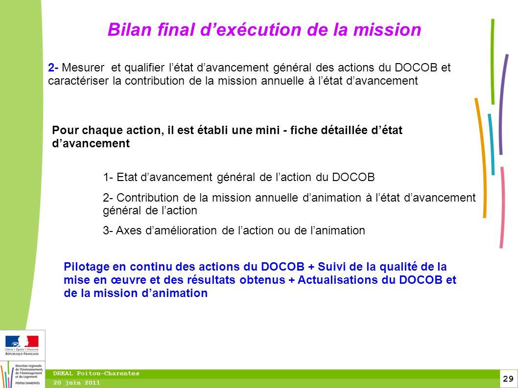 29 20 juin 2011 DREAL Poitou-Charentes Bilan final d'exécution de la mission 2- Mesurer et qualifier l'état d'avancement général des actions du DOCOB