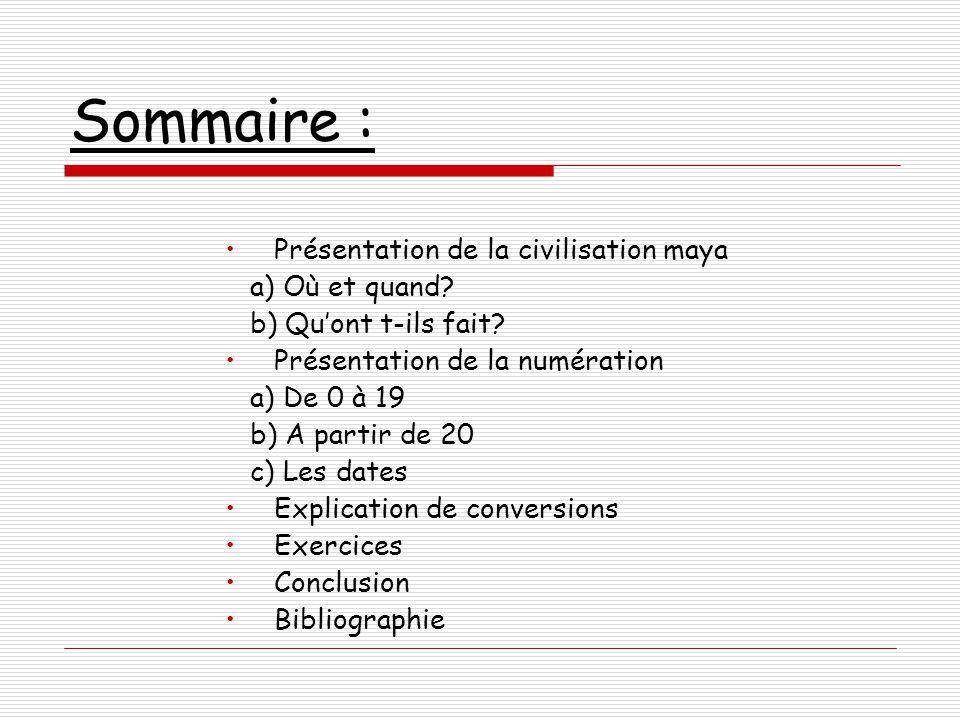 Sommaire : Présentation de la civilisation maya a) Où et quand.