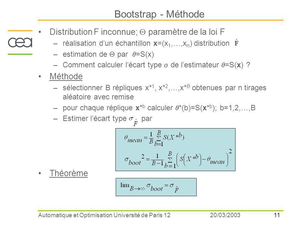 11 20/03/2003Automatique et Optimisation Université de Paris 12 Distribution F inconnue;  paramètre de la loi F –réalisation d'un échantillon x=(x 1,…,x n ) distribution –estimation de  par  =S(x) –Comment calculer l'écart type  de l'estimateur  =S(x) .