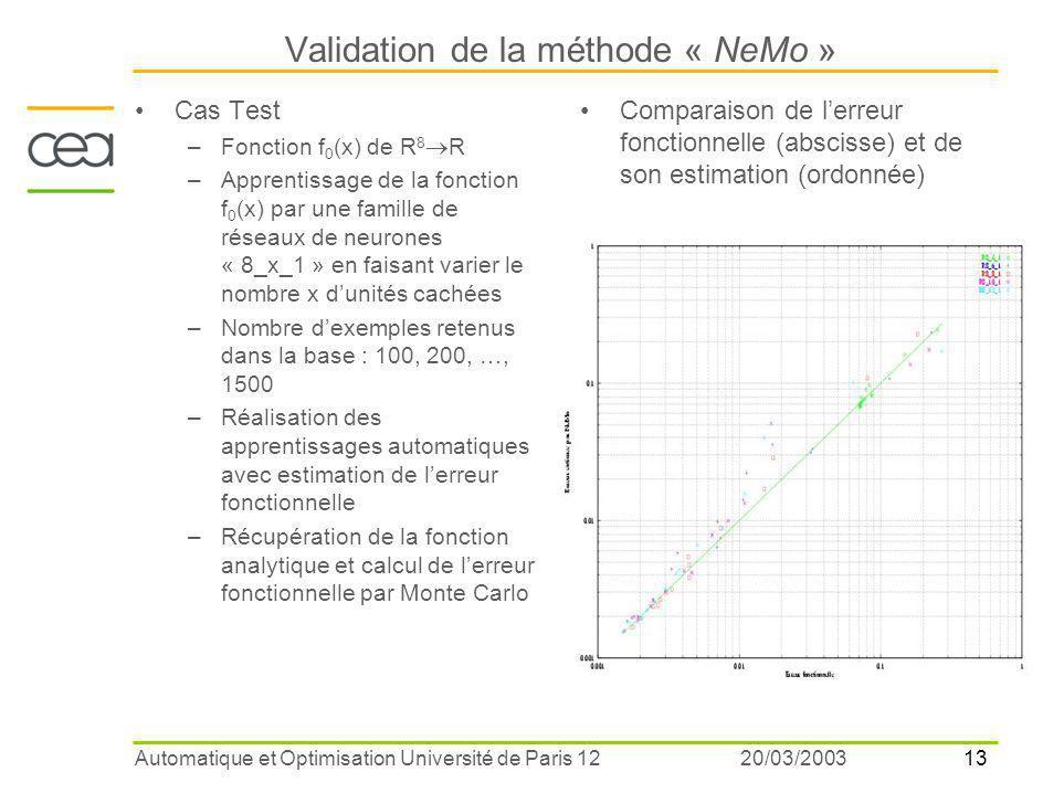 13 20/03/2003Automatique et Optimisation Université de Paris 12 Validation de la méthode « NeMo » Cas Test –Fonction f 0 (x) de R 8  R –Apprentissage de la fonction f 0 (x) par une famille de réseaux de neurones « 8_x_1 » en faisant varier le nombre x d'unités cachées –Nombre d'exemples retenus dans la base : 100, 200, …, 1500 –Réalisation des apprentissages automatiques avec estimation de l'erreur fonctionnelle –Récupération de la fonction analytique et calcul de l'erreur fonctionnelle par Monte Carlo Comparaison de l'erreur fonctionnelle (abscisse) et de son estimation (ordonnée)