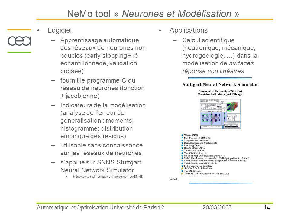 14 20/03/2003Automatique et Optimisation Université de Paris 12 NeMo tool « Neurones et Modélisation » Logiciel –Apprentissage automatique des réseaux