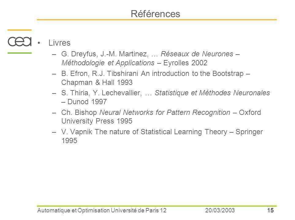 15 20/03/2003Automatique et Optimisation Université de Paris 12 Références Livres –G. Dreyfus, J.-M. Martinez, … Réseaux de Neurones – Méthodologie et