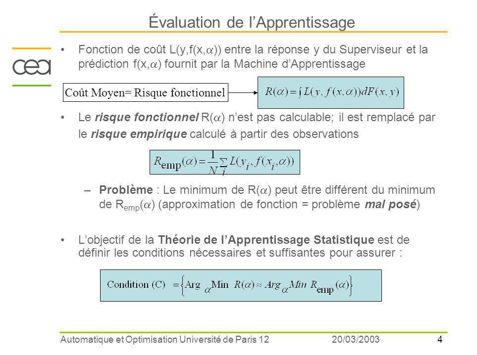 4 20/03/2003Automatique et Optimisation Université de Paris 12 Fonction de coût L(y,f(x,  )) entre la réponse y du Superviseur et la prédiction f(x,  ) fournit par la Machine d'Apprentissage Le risque fonctionnel R(  ) n'est pas calculable; il est remplacé par le risque empirique calculé à partir des observations –Problème : Le minimum de R(  ) peut être différent du minimum de R emp (  ) (approximation de fonction = problème mal posé) L'objectif de la Théorie de l'Apprentissage Statistique est de définir les conditions nécessaires et suffisantes pour assurer : Évaluation de l'Apprentissage Coût Moyen= Risque fonctionnel