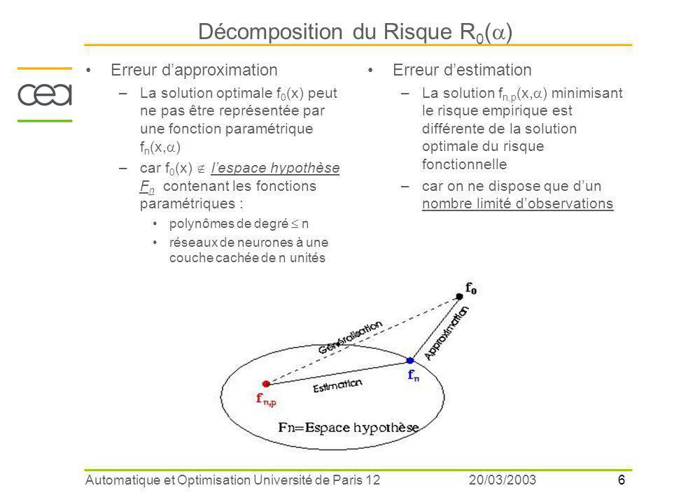 7 20/03/2003Automatique et Optimisation Université de Paris 12 Théorie de Vapnik et Chervonenkis La dimension VC d'un ensemble de fonctions f n (x,  ) mesure leurs capacités de modélisation –si h(f n ) dimension VC de f n (x,  )=polynôme degré  n alors h(f n+1 )>h(f n ) Théorème : L'erreur d'estimation est bornée R emp (  ) est décroissante mais D(h) est croissante en fonction de la dimension VBC  compromis On ne sait pas calculer avec précision la dimension VC pour des fonctions non linéaires solutions issues des réseaux de neurones et des méthodes statistiques Intervalle 1-  confiance Meilleur modèle