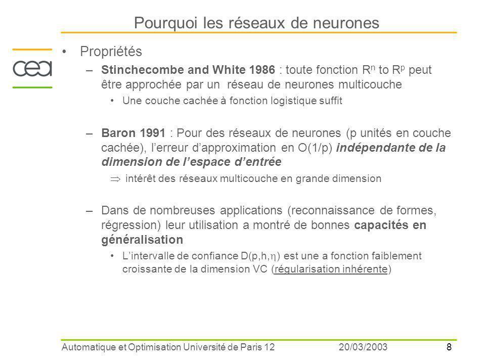 8 20/03/2003Automatique et Optimisation Université de Paris 12 Pourquoi les réseaux de neurones Propriétés –Stinchecombe and White 1986 : toute fonction R n to R p peut être approchée par un réseau de neurones multicouche Une couche cachée à fonction logistique suffit –Baron 1991 : Pour des réseaux de neurones (p unités en couche cachée), l'erreur d'approximation en O(1/p) indépendante de la dimension de l'espace d'entrée  intérêt des réseaux multicouche en grande dimension –Dans de nombreuses applications (reconnaissance de formes, régression) leur utilisation a montré de bonnes capacités en généralisation L'intervalle de confiance D(p,h,  ) est une a fonction faiblement croissante de la dimension VC (régularisation inhérente)