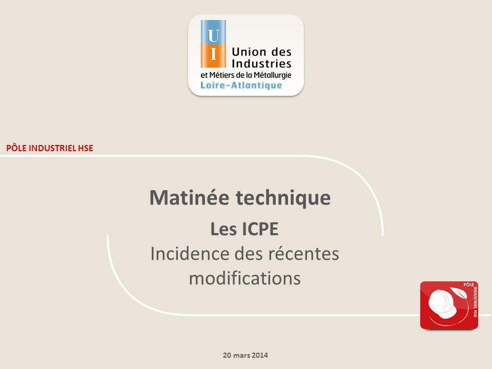 20 mars 2014 PÔLE INDUSTRIEL HSE Matinée technique Les ICPE Incidence des récentes modifications