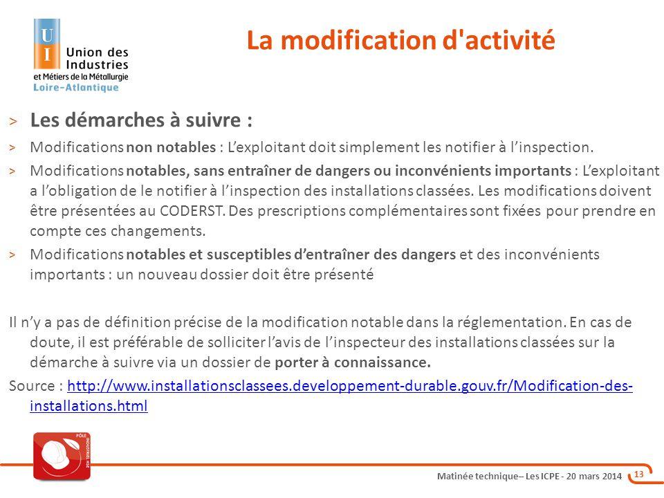 Matinée technique– Les ICPE - 20 mars 2014 13 La modification d activité > Les démarches à suivre : > Modifications non notables : L'exploitant doit simplement les notifier à l'inspection.