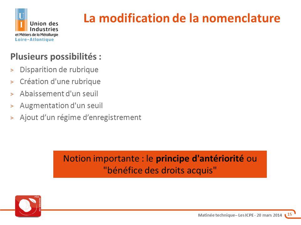 Matinée technique– Les ICPE - 20 mars 2014 15 La modification de la nomenclature Plusieurs possibilités : > Disparition de rubrique > Création d'une r